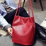 The Bucket Shopping Large Shoulder Crossbody Tote Leather Bag Shoulder Bags Yogodlns Official Store Wine Red