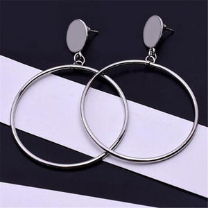 Loopy for Hoops Big Round Hollow Geometric Earrings Collection Drop Earrings ZSC JEWLRY & ACCESSORIES The Silver Stud Hoops