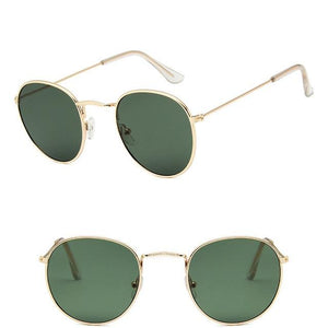 Classic Round Sun Street Beat Unix Mirror Sunglasses Women's Sunglasses RBROVO Official Store Gold Deep Green