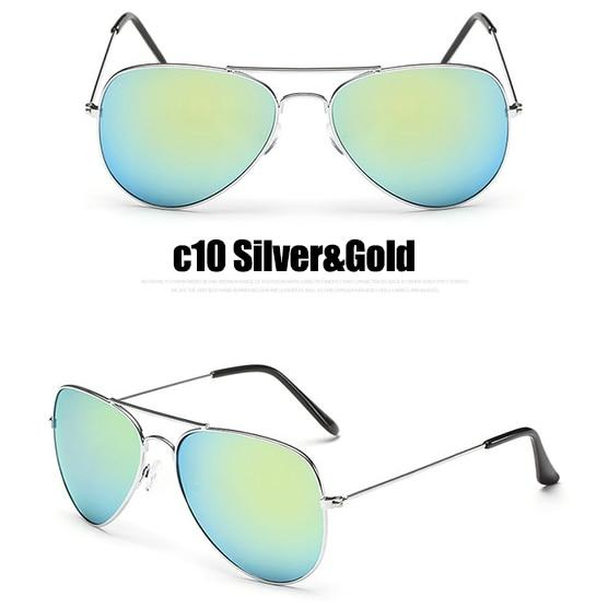 The Outdoor Lover Luxe Pilot Mirror Unisex Eyewear Women's Sunglasses LeonLion Store C10 Silver Gold