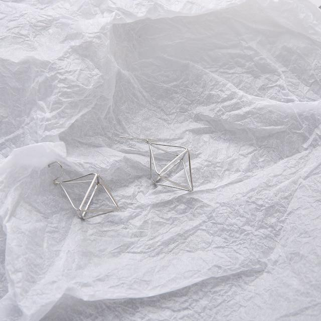 The 3D Geometric Architectural Art Sculpture Hollow Polygon Minimalist Earrings Collection Drop Earrings AllAccessories Online Store Small Silver1