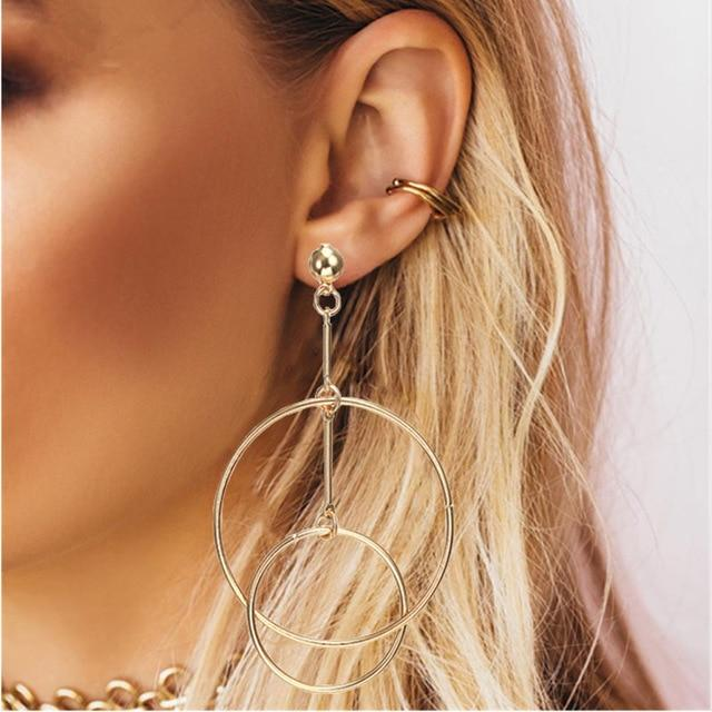 Loopy for Hoops Big Round Hollow Geometric Earrings Collection Drop Earrings ZSC JEWLRY & ACCESSORIES The Gold Minimalist Geometric Hoops