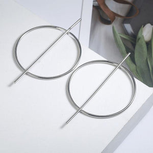 Loopy for Hoops Big Round Hollow Geometric Earrings Collection Drop Earrings ZSC JEWLRY & ACCESSORIES The Silver Graphic Geometric Hoops