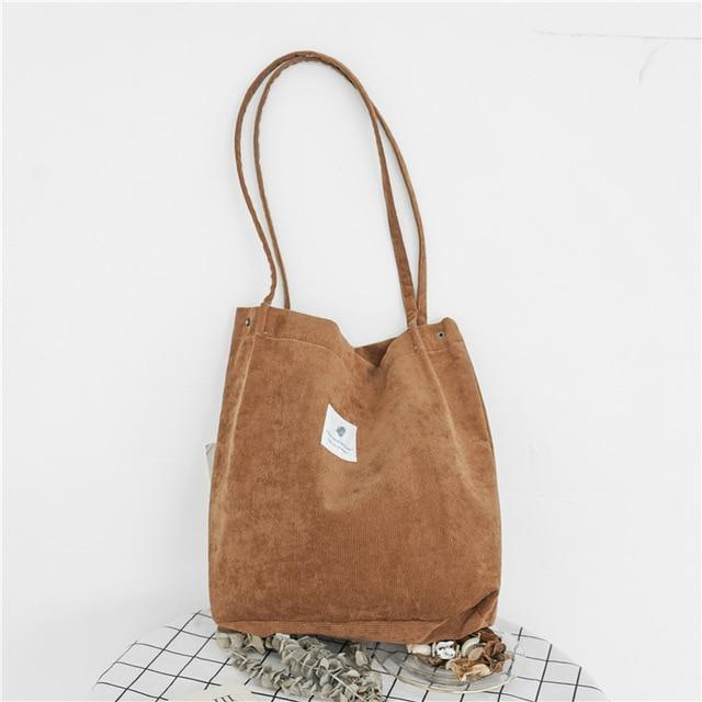 Dream Corduroy Large Shoulder Crossbody Foldable Tote Bag Shoulder Bags Mara's Dream Golden Store Brown
