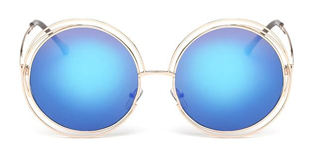 The Classic Retro Over Oversized Glasses Round Circle Stainless Steel Frame Mirror Sunglasses Women's Sunglasses SHENZHEN BO SHI TONG gold blue
