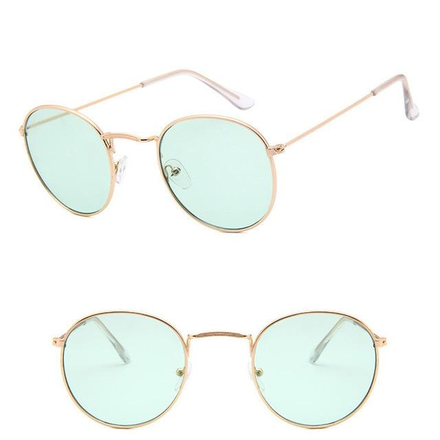 Classic Round Sun Street Beat Unix Mirror Sunglasses Women's Sunglasses RBROVO Official Store Gold OceanGreen