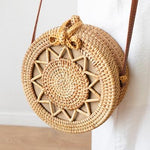 The Bali Island Handmade Woven Rattan Straw Bohemian Shoulder Crossbody Bag Collection Shoulder Bags AOILDLLI Official Store Natural Star Emblem Light (20cm x 8cm)