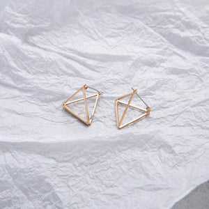 The 3D Geometric Architectural Art Sculpture Hollow Polygon Minimalist Earrings Collection Drop Earrings AllAccessories Online Store Large Gold