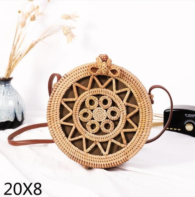 The Bali Island Handmade Woven Rattan Straw Bohemian Shoulder Crossbody Bag Collection Shoulder Bags AOILDLLI Official Store Natural Star & Bubbles w. Bow (20cm x 8cm)