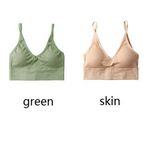 The Comfy Cotton Push Up Wireless Padded Seamless Backless Bralette Bras Milay Store Green + Skin Set (2 pcs)