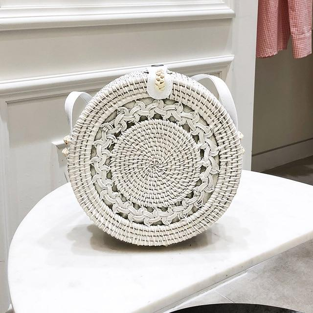 The Bali Island Handmade Woven Rattan Straw Bohemian Shoulder Crossbody Bag Collection Shoulder Bags AOILDLLI Official Store White Emblem (20cm x 8cm)