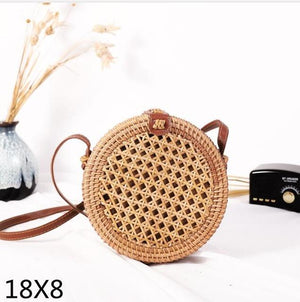 The Bali Island Handmade Woven Rattan Straw Bohemian Shoulder Crossbody Bag Collection Shoulder Bags AOILDLLI Official Store Honeycomb 2 (18cm x 8cm)