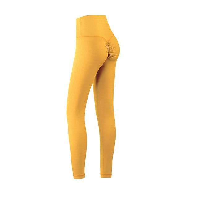The Naked Feeling Scrunch Butt Deep V Booty High-Waisted Gym Yoga Workout Leggings Yoga Pants hearuisavy Official Store California Lemon Zest Yellow S