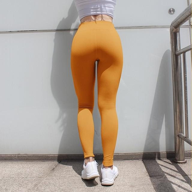 The Staple High Waist Seamless Pants Sports Yoga Leggings Yoga Pants hearuisavy Official Store Yellow XS