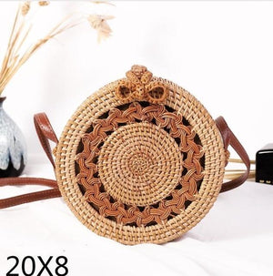 The Bali Island Handmade Woven Rattan Straw Bohemian Shoulder Crossbody Bag Collection Shoulder Bags AOILDLLI Official Store Double Emblem Bow (20cm x 8cm)