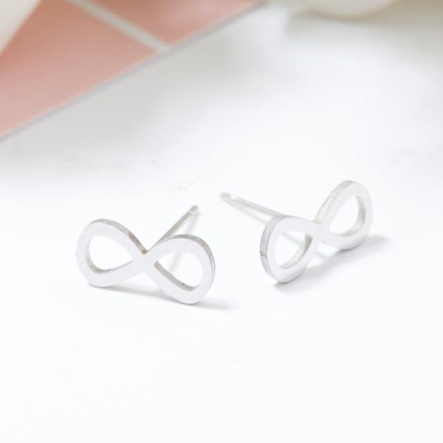 Silver Stainless Steel Super Cute Minimalist Geometric Stud Earrings Collection Stud Earrings Shine Lives Store Infinite