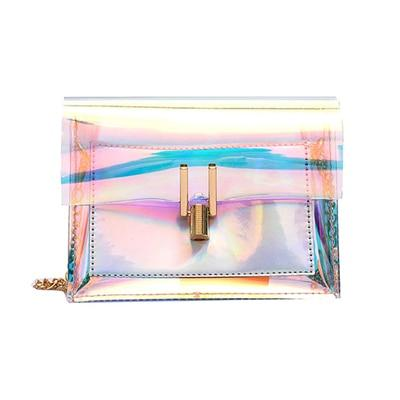 The Shiny Laser Transparent Crossbody Shoulder Messenger Bag Shoulder Bags Noocuxuekon Store Silver