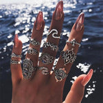 The Complete Bohemian Beach Retro Elephant Hollow Lotus Wave Gems Fashion Ring Set (11 Pcs/Set!) Rings IG Jewellery Store Silver
