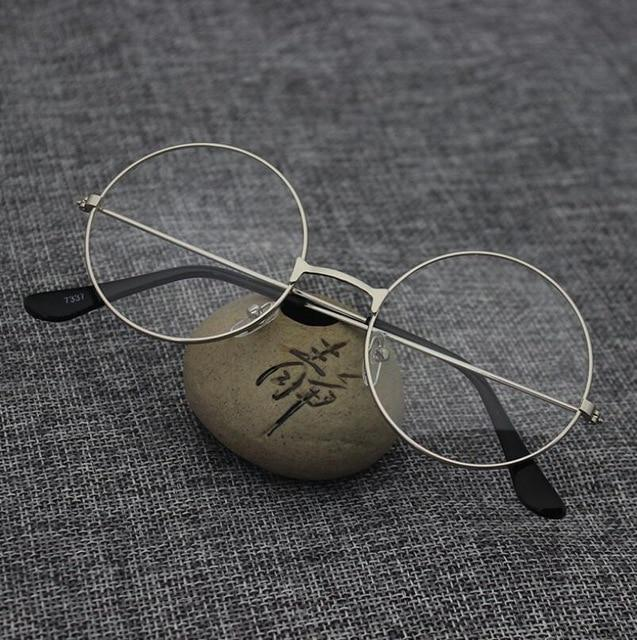 The Retro Oversized Glasses Round Transparent Flat Stainless Steel Eyeglasses Frames Women's Eyewear Frames Liucong Store Silver
