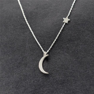 The Let's Live Upon the Simply Divine Stars and the Moon Mood Tracker Pendant Necklaces Collection Pendant Necklaces ahmed Official Store Classic Silver
