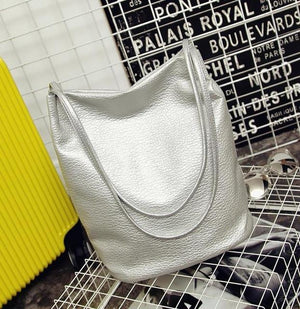 The Bucket Shopping Large Shoulder Crossbody Tote Leather Bag Shoulder Bags Yogodlns Official Store Silver