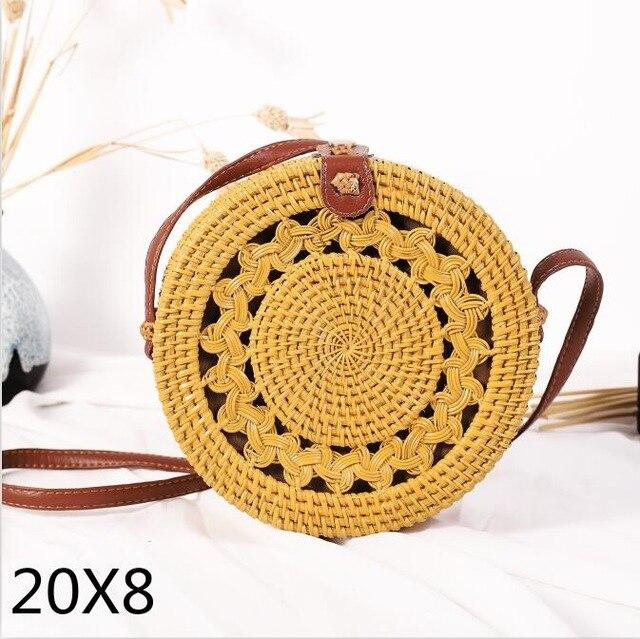 The Bali Island Handmade Woven Rattan Straw Bohemian Shoulder Crossbody Bag Collection Shoulder Bags AOILDLLI Official Store Yellow Double Emblem (20cm x 8cm)