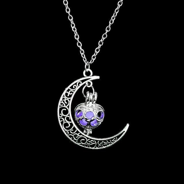 The Enchanted Sun Light Charging and Glowing Gem Stone Moon Charm Necklace Pendant Necklaces FAMSHIN Official Store Purple Classic