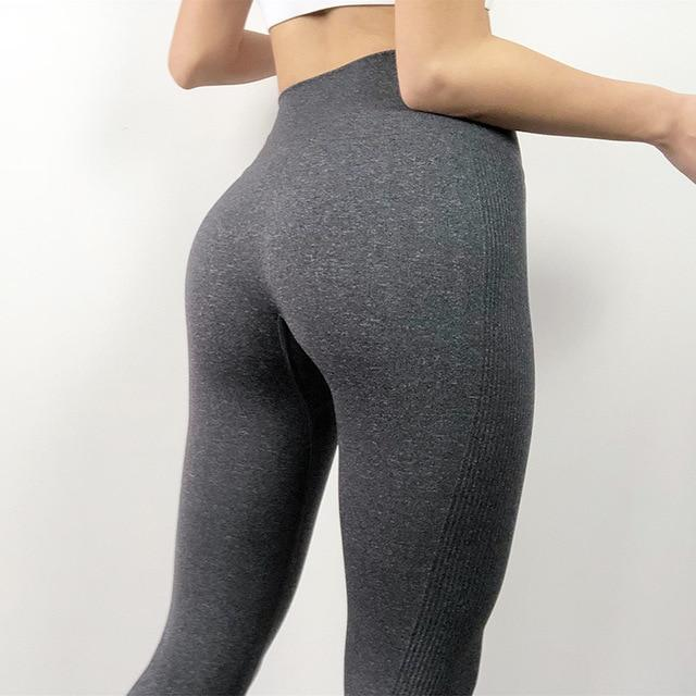 The Staple High Waist Seamless Pants Sports Yoga Leggings Yoga Pants hearuisavy Official Store Dark Grey XS