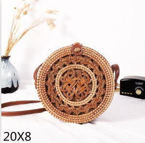 The Bali Island Handmade Woven Rattan Straw Bohemian Shoulder Crossbody Bag Collection Shoulder Bags AOILDLLI Official Store Double Emblem (20cm x 8cm)