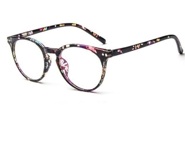 Put Some Quirky Flair Into Your Daily Looks With Vintage Round Clear Eyeglasses Frames Men's Eyewear Frames Yaobo Glasses Store BLACK FLOWER