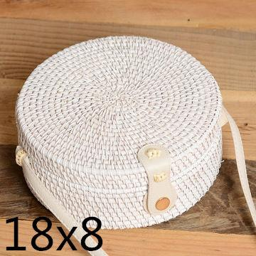 The Bali Island Handmade Woven Rattan Straw Bohemian Shoulder Crossbody Bag Collection Shoulder Bags AOILDLLI Official Store White & Minimal (18cm x 8cm)