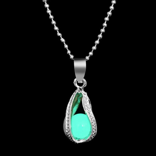 The Enchanted Sun Light Charging and Glowing Gem Stone Moon Charm Necklace Pendant Necklaces FAMSHIN Official Store Blue Green Pearl