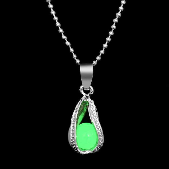 The Enchanted Sun Light Charging and Glowing Gem Stone Moon Charm Necklace Pendant Necklaces FAMSHIN Official Store Green Pearl