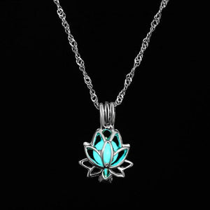 The Enchanted Sun Light Charging and Glowing Gem Stone Moon Charm Necklace Pendant Necklaces FAMSHIN Official Store Blue Green Lotus Flower