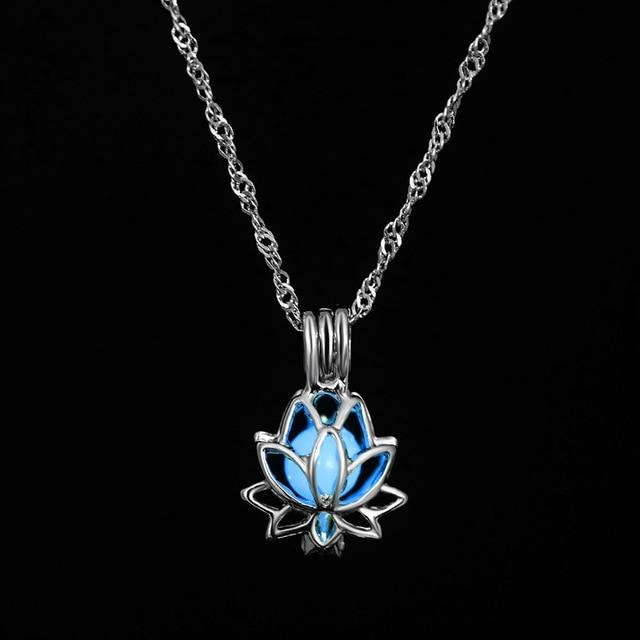 The Enchanted Sun Light Charging and Glowing Gem Stone Moon Charm Necklace Pendant Necklaces FAMSHIN Official Store Blue Lotus Flower