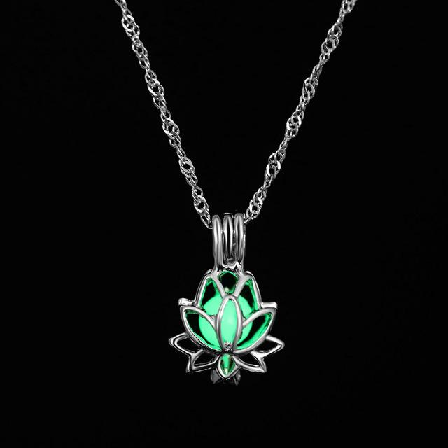 The Enchanted Sun Light Charging and Glowing Gem Stone Moon Charm Necklace Pendant Necklaces FAMSHIN Official Store Green Lotus Flower