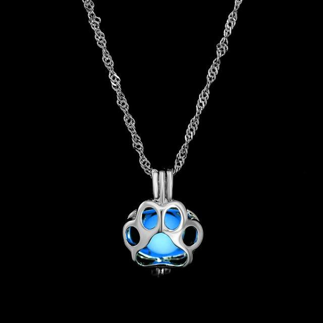 The Enchanted Sun Light Charging and Glowing Gem Stone Moon Charm Necklace Pendant Necklaces FAMSHIN Official Store Blue Crown