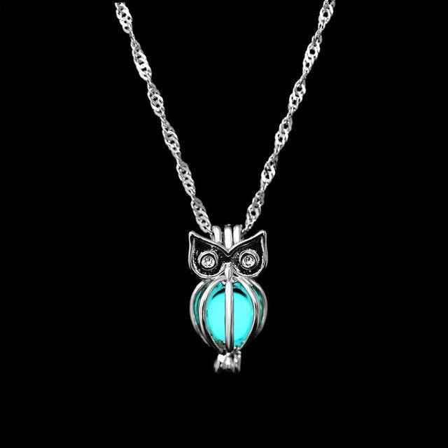The Enchanted Sun Light Charging and Glowing Gem Stone Moon Charm Necklace Pendant Necklaces FAMSHIN Official Store Blue Green Owl
