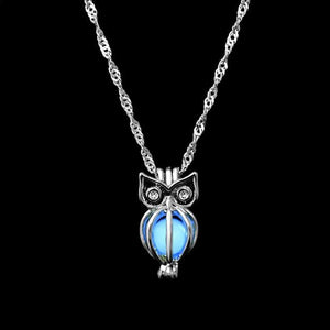 The Enchanted Sun Light Charging and Glowing Gem Stone Moon Charm Necklace Pendant Necklaces FAMSHIN Official Store Blue Owl