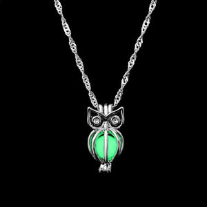 The Enchanted Sun Light Charging and Glowing Gem Stone Moon Charm Necklace Pendant Necklaces FAMSHIN Official Store Green Owl