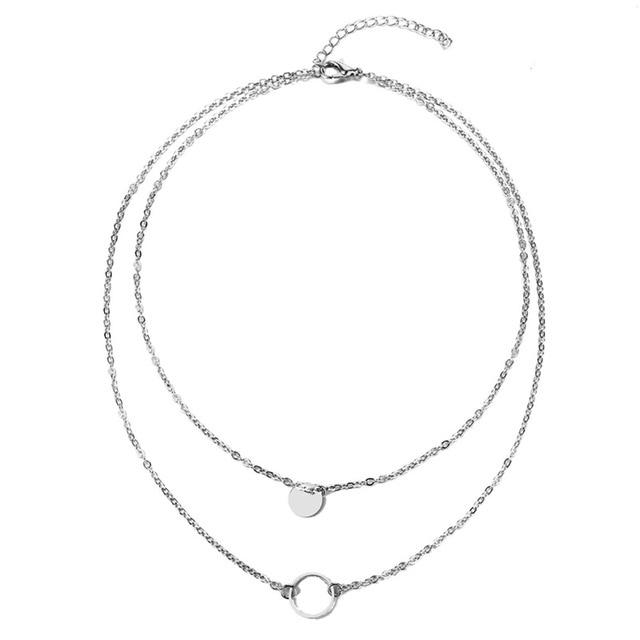The Double Full and Hollow Moon Multi-Layer Choker Necklace Pendant Necklaces AILEND Official Store Silver