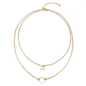 The Double Full and Hollow Moon Multi-Layer Choker Necklace Pendant Necklaces AILEND Official Store Gold