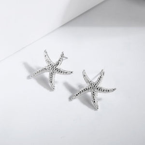 The Hypnotic Bling Ultimate Bejeweled Party Evening Wear Stud Earrings Collection Stud Earrings Fitable Trendy Store Silver Dancing Starfish