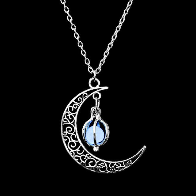 The Enchanted Sun Light Charging and Glowing Gem Stone Moon Charm Necklace Pendant Necklaces FAMSHIN Official Store Blue Globe
