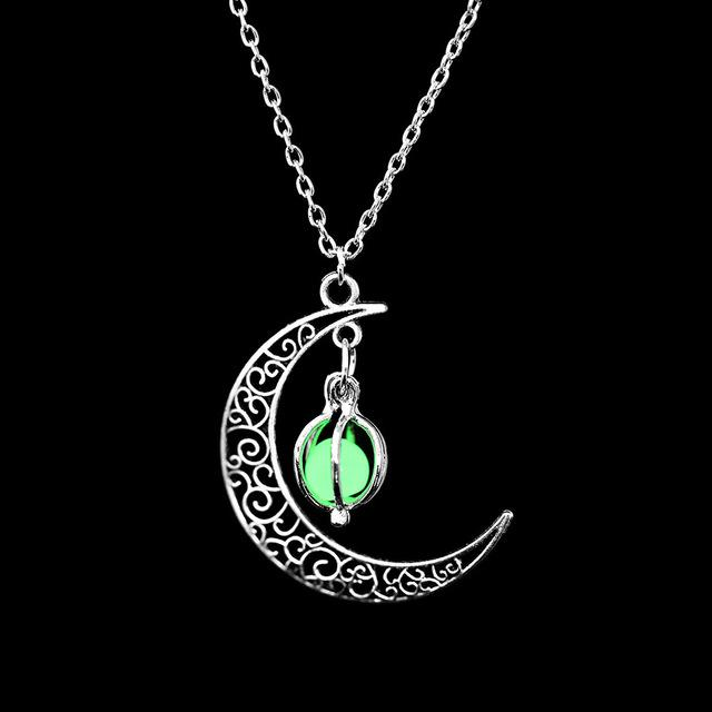 The Enchanted Sun Light Charging and Glowing Gem Stone Moon Charm Necklace Pendant Necklaces FAMSHIN Official Store Green Globe