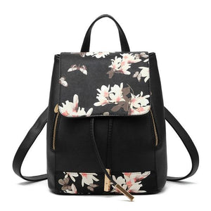 The Minimal School Rucksack Backpack Backpacks Rusoonnic Store Flower Black