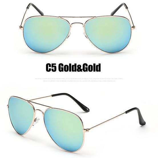 The Outdoor Lover Luxe Pilot Mirror Unisex Eyewear Women's Sunglasses LeonLion Store C5 Gold Gold