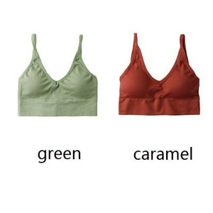 The Comfy Cotton Push Up Wireless Padded Seamless Backless Bralette Bras Milay Store Green + Caramel Set (2 pcs)