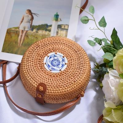The Bali Island Handmade Woven Rattan Straw Bohemian Shoulder Crossbody Bag Collection Shoulder Bags AOILDLLI Official Store Natural & Minimal 2 w. Blue Pearl (18cm x 8cm)