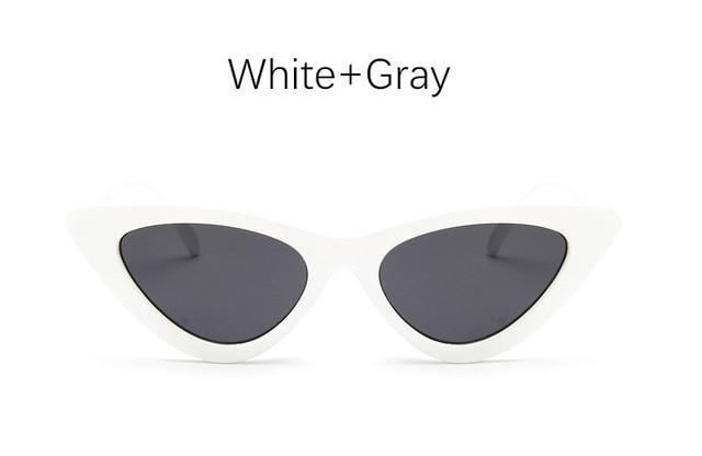 The Oh So Dramatic Triangular Cat Eye Vintage Retro Sunglasses Women's Sunglasses Shop3478042 Store White Gray